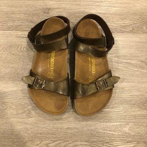Birkenstock Metallic Ankle Wrap Sandals Size 38